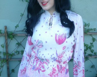 Vintage 60's 70's Sheer Floral Accodian PLeated Ruffle Blouse Shirt