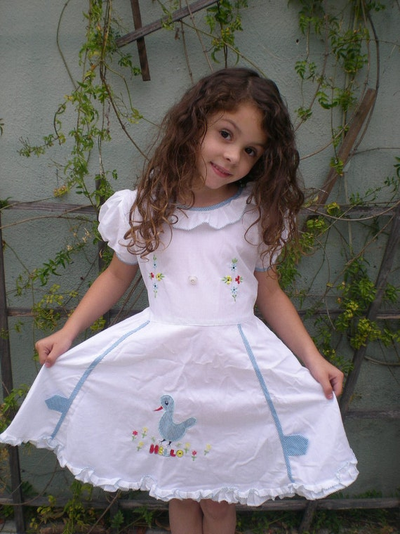 Vintage White Cotton Little Girls Summer Dress 4t 5t 6t Puff