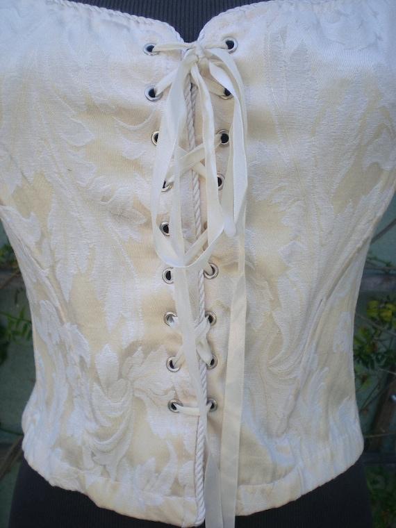 Vintage 80's Cream Corset Vest.