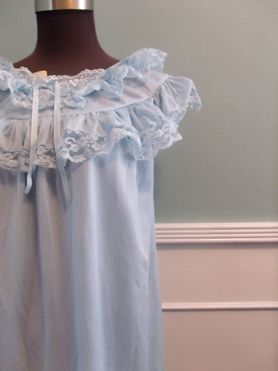 Vintage 50's 60's Blue Ruffles and Lace Nighty. New. Pale Blue Nightgown. Pin Up. NOS