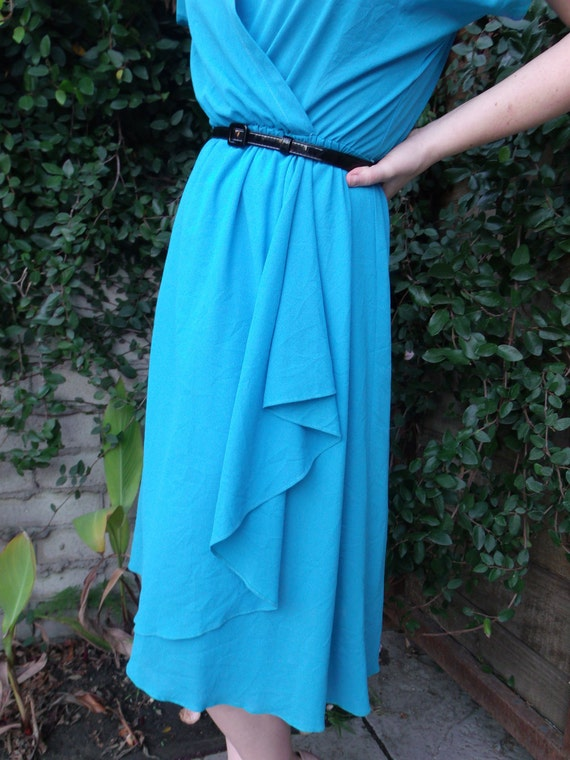 Vintage Blue Day Dress V Neck Draped Tulip Hem Dress.