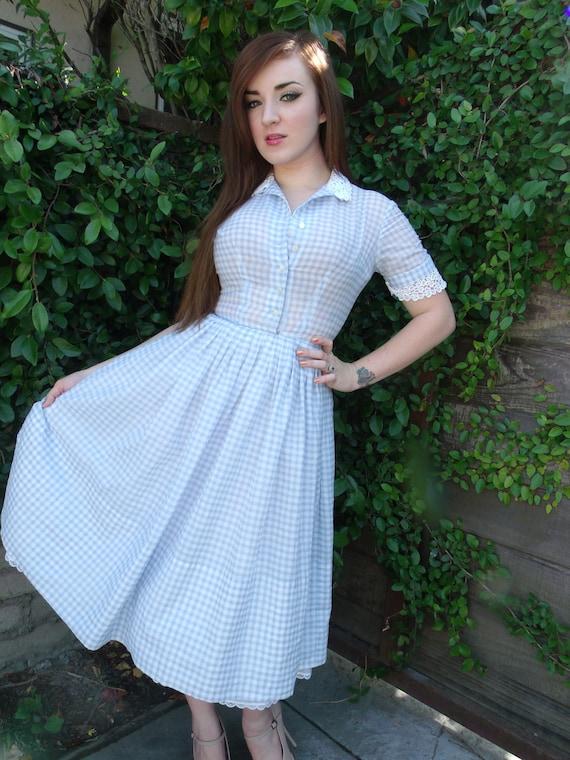 Vintage 50 S Baby Blue Gingham Dress Full Skirt Mad Men