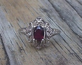 RESERVED--Avon Sterling Silver Red Stone Ring for Repair