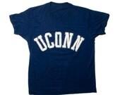VTG 90's UCONN University of Connecticut T-Shirt ( Medium / Large) Unisex Navy Blue Soft Tee