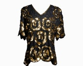 VTG 80's Sparkly Gold Swirling Flowers Sequins and Beading Silk Blouse (Small / Medium) Scalloped Short Sleeve Shirt