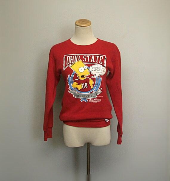 VTG 90's Red Buckeye Bart Simpson for Ohio State University Sweatshirt  (Small / Medium) Unisex