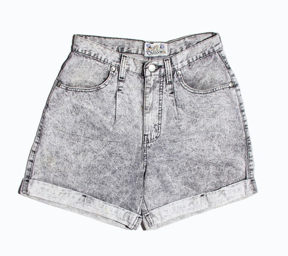RESERVED // VTG 80's Grey Acid Wash Jean Short (Small / Medium) High Waisted Retro Cuffed Shorts