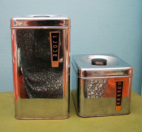 VTG Shiny SILVER CHROME Kitchen CANNISTER Set FLOUR and COFFEE Retro