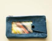 blue suede zip wallet