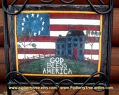 Hand Painted Decorative God Bless America/Saltbox House 7 x 9 Slate Sign