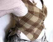 Light Brown Plaid Wool Tail Vest in Medium Large