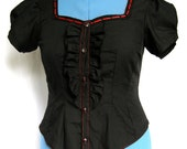 SALE Black Ruffled Loli Blouse with Red Sweetheart Neckline