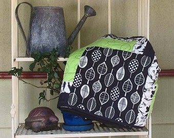SALE Organic Cotton Fabric in Black, White and Green Throw Quilt