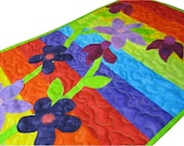 Rainbow Art Quilt Fabric Wall Hanging with Floral Applique