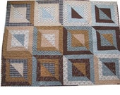 Patchwork Lap Quilt in Light Blues and Browns