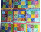 "Throw Quilt in Bright Batik Fabrics in 5"" Squares"