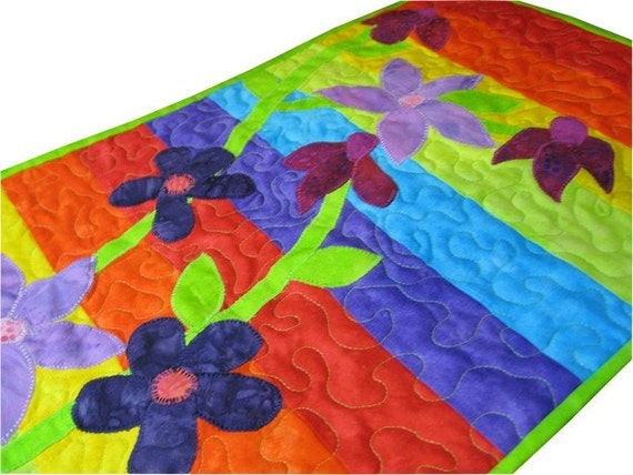 Rainbow Quilted Wall Hanging with Floral Applique