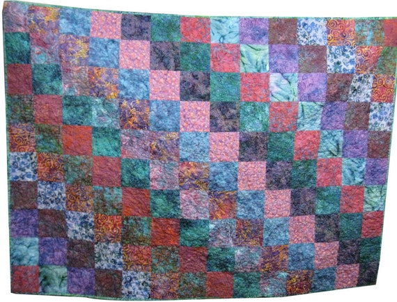 Quilted Throw in Jewel Tone Batik , Lap Quilt, Wheelchair Quilt