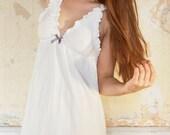 Cream Nightie - 100% Organic cotton - Lingerie, Sleepwear, Underwear/Babydoll nightie, plus size, bridal, maternity, nursing, sexy, pyjama