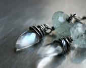 Mermaid Moon Earrings - Rainbow Moonstone, Aquamarine on Oxidized Sterling Silver