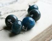 The Abyss Necklace - Apatite Smooth Rondelles on Oxidized Sterling Silver