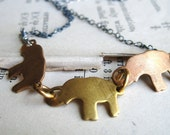 Handmade Connection Necklace - Vintage Brass Elephant Charms on Oxidized Sterling Silver