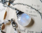 Glowing Lunar Light Necklace, AA Rainbow Moonstone on Oxidized Sterling Silver Handmade