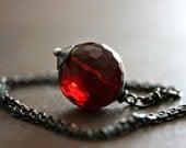 Sanguine Drop Necklace - Dark Red Glass Faceted Round on Gun Metal Chain