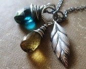 Faction Necklace, Whiskey and Hydroquartz with Sterling Silver Feather Charm