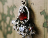 Sterling Silver Garnet Necklace Moonstone Crystal, Yuletide Fandangle