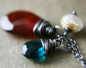 Sterling Silver Necklace Brick Red Chalcedony Teal Hydroquartz Rutilated Quartz, Earth  Element Totem