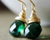 Summer Sale Event 15% Off Emerald City Earrings - Emerald Green Hydroquartz on 14K Gold Fill Earring Wires