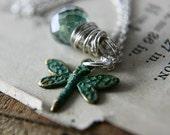 Garden Sprite Necklace Patina Verdigris Dragonfly Mystic Teal Quartz Sterling Silver for the Gardener