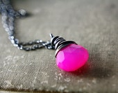 Pink Pop Necklace, Hot Pink Chalcedony Sterling Silver