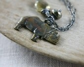 Intrepid Necklace Whiskey Quartz, Pyrite, and Brass Rhinoceros Charm on Sterling Silver