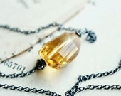 RESERVED DEPOSIT Solar Empire Necklace, Citrine Hydroquartz Nugget on Oxidized Sterling Silver Chain