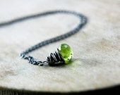 Peridot Necklace August Birthstone Sterling Silver Verdant Green Black Friday Cyber Monday
