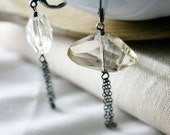 Champagne Toast Earrings,  Glass Nuggets on Oxidized under 50 Sterling Silver Fashion Valentine