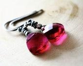 Ruby Drop Earrings Red Silver July Dangle
