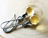 Holiday Sale Honeydew Earrings Champagne Quartz Oxidized Fine and Sterling Silver polestar Black Friday Cyber Monday