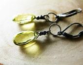 Holiday Sale Yellow Earrings Lemon Quartz Oxidized Sterling Silver Black Friday Cyber Monday