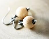 Glass Earrings, Drop Earrings, Glass Bead, Bird Egg, Sterling Silver, PoleStar, Dangle Earrings, Cream, Vanilla, Spring Jewelry
