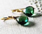 Green Stone Earrings Hydorquartz on 14K Gold Fill Earring Wires Fashion Under 100
