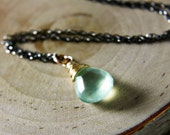 Holiday Sale Green Stone Necklace Mint Green Prehnite 14K Gold Fill Oxidized Sterling Silver Cyber Monday