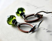 Sterling Silver Earrings Green Glass Copper polestar Fashion Grass Fern