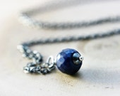 Sapphire Necklace Stone Pendant Sterling Silver Midnight Blue September Pendant Precious Stone