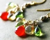 Cascade Earrings Gemstone Jewelry Chalcedony Peridot Dangle