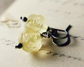 Yellow Rose Earrings Lucite Pale Lemon Roses Sterling Silver Fashion Pastel