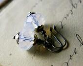 Drop Earrings, Glass Earrings, Opal Glass, Dangle Earrings, October, White Glass, Sterling Silver, Antiqued, PoleStar, Ghostly, Halloween