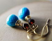 Turquoise Garnet and Gold Earrings Wire Wrapped Blue Red 14K Gold Fill Sleeping Beauty Black Friday Cyber Monday